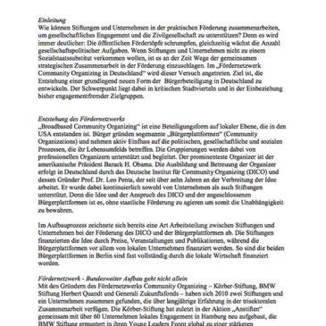 Fördernetzwerk Community Organizing in Deutschland
